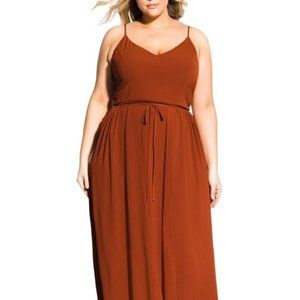 City Chic Divine Overlay Brown Crepe Maxi Dress